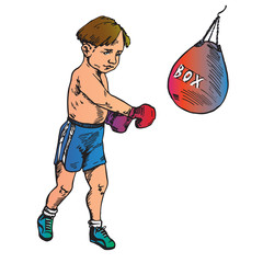 Beautiful boy boxing, hand drawn doodle, color sketch in pop art style, vector