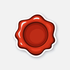 Vector illustration. Red wax seal. Mail security stamp. Sticker in cartoon style with contour. Decoration for greeting cards, patches, prints for clothes, badges, posters, emblems