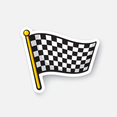 Vector illustration. Chequered racing flag on flagstaff. Cartoon sticker with contour. Decoration for greeting cards, patches, prints for clothes, badges, posters, emblems