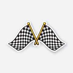 Vector illustration. Two crossed chequered racing flags on flagstaffs. Cartoon sticker with contour. Decoration for greeting cards, patches, prints for clothes, badges, posters, emblems