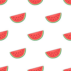 Vector illustration. Seamless pattern with watermelon slice. Healthy vegetarian food. Decoration for gift paper, prints for clothes, textiles, wallpapers