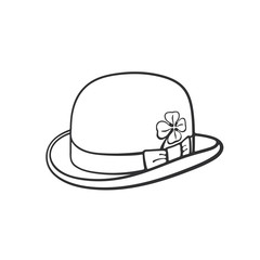 Vector illustration. Hand drawn doodle of bowler hat with clover. Saint Patrick's Day symbol. Cartoon sketch. Decoration for greeting cards, posters, emblems, wallpapers