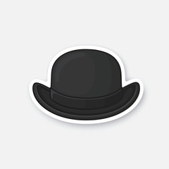 Vector illustration. Front view of black retro bowler hat. Vintage elegant hat. Sticker in cartoon style with contour. Decoration for greeting cards, patches, prints for clothes, badges, emblems