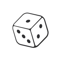 Vector illustration. Hand drawn doodle of one casino dice. Cartoon sketch. Gambling game symbol. Decoration for greeting cards, posters, emblems, wallpapers