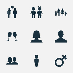 Vector Illustration Set Of Simple Beloved Icons. Elements Husband, Mister, Spouse Synonyms Couple, Beloveds And Gay.