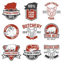 farm fresh pork meat emblems. Design elements for logo, label, sign. Vector illustration.
