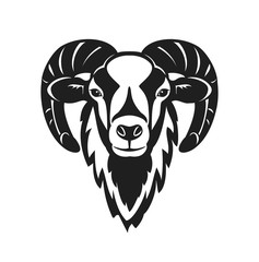 Mouflon sheep  head vector illustration