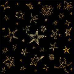 Golden Hand Drawn Set of Stars. Children Drawings of Funny Stars. Doodle Style. Vector Illustration.