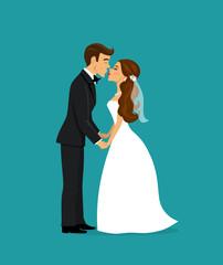 Newlywed bride and groom kissing cartoon vector illustration