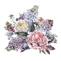 Watercolor Peonies and Lilac Bouquet