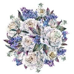 Watercolor Peonies Round Bouquet
