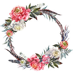Watercolor Boho Peony Wreath