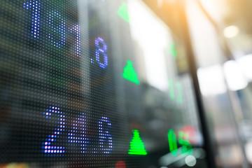 Stock market index numbers display at street