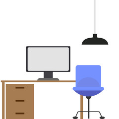 illustration of isolated computer on wooden desk
