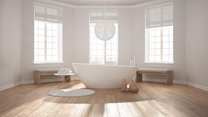 Zen classic spa bathroom with bathtub, minimalist scandinavian interior design
