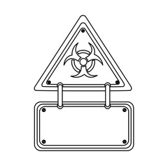 silhouette metal biohazard warning notice sign icon, vector illustration design
