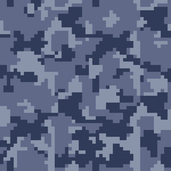Pixel camo seamless pattern, blue Military camouflages. Vector background, fabric textile print designs for Army Clothing.