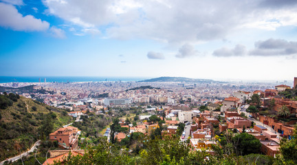 aerial view of Barcelona from the hills surrounding the city
