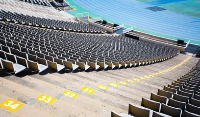 Fotorollo Stadion empty seats of big sport stadium