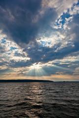 Sun shining thru clouds
