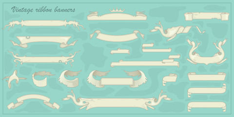 Set of vintage ribbon banners for your text. Vector Collection Retro styled