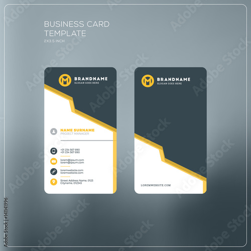 Vertical business card print template personal business card with vertical business card print template personal business card with company logo black and yellow reheart Image collections