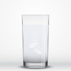 Effervescent pills  in a glass of water, vector illustration