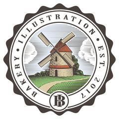 Vintage color mill illustration