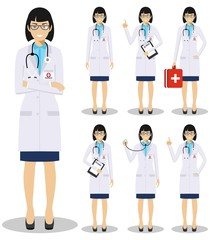 Medical concept. Detailed illustration of old american european doctors in flat style isolated on white background. Practitioner doctor woman standing in different positions. Vector illustration.