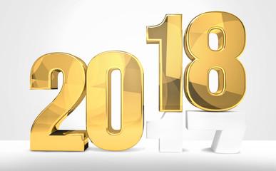 2018 year golden 3d render symbol for sylvester 2018