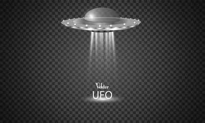 The alien ship. Vector illustration. UFO