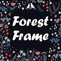 Vector decorative floral frame. Spring elements. Forest doodles wheath.
