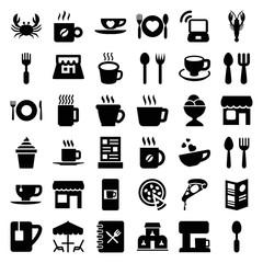 Set of 36 cafe filled icons