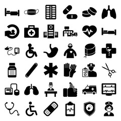 Set of 36 hospital filled icons