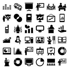 Set of 36 presentation filled icons