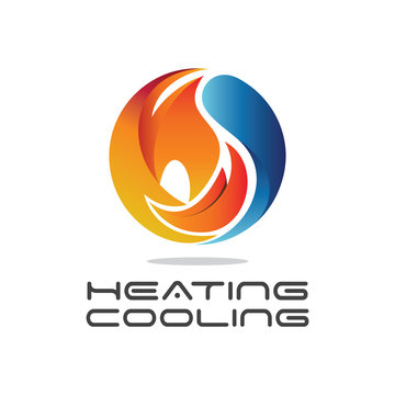 3d modern abstract 'heating & cooling' logo