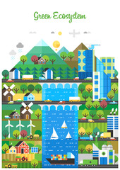 Ecological city, renewable energy. Development of agriculture