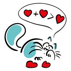 Cat thinks of hearts