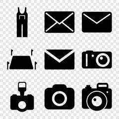 Set of 9 contour filled icons