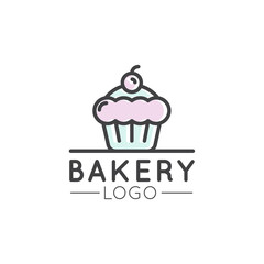 Vector Icon Style Illustration Logo Design for Fresh Bakery Products, Bread or Grocery Shop. Sweet Cupcake with Cream and Berry, Cartoon Style