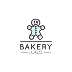 Vector Icon Style Illustration Logo Design for Fresh Bakery Products, Bread or Grocery Shop. Sweet Cupcake with Cream and Berry, Cartoon Style, Ginger Man Cookie Symbol
