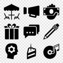 Set of 9 pictograph filled icons