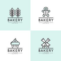 Vector Icon Style Illustration Concept Logo of Bakery, Mill, Bread Product, Store or Market, Isolated Symbols for Web and Mobile, Wheat Spike, Mill, Ginger Man Cookie, Cup Cake Symbol