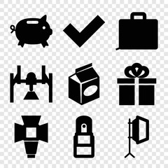 Set of 9 box filled icons