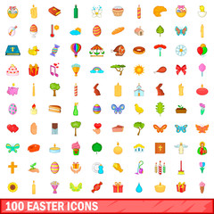 100 easter icons set, cartoon style