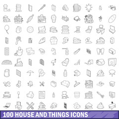 100 house and things icons set, outline style