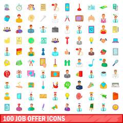 100 job offer icons set, cartoon style
