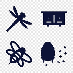 Set of 4 bee filled icons