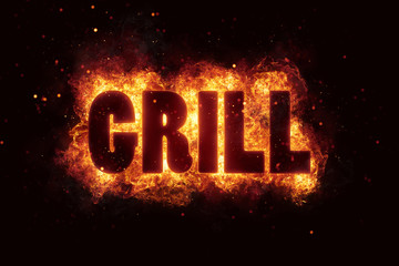 grill Party text on fire flames explosion