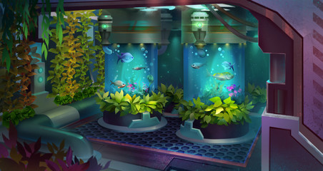 Painted room with plants on a spaceship